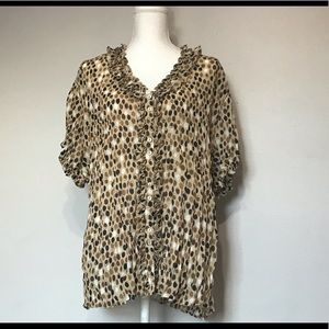 Sunny Leigh Women's Plus Size 3X Top Blouse Brown